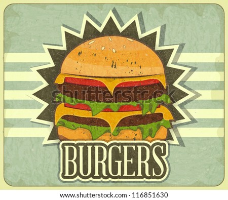 Retro Cover for Fast Food Menu - hamburger on vintage background - vector illustration - stock vector