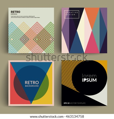 Retro covers set. Colorful modernism. Eps10 vector. - stock vector
