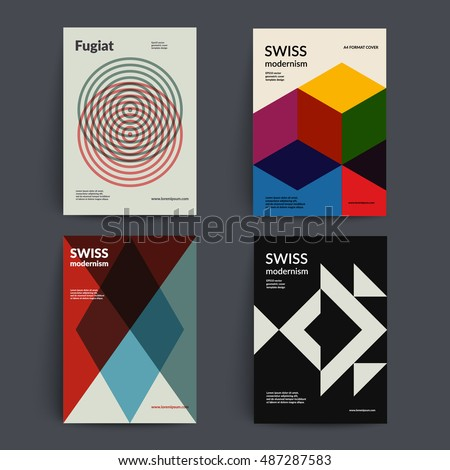 Retro covers set. Swiss style modernism. Eps10 vector.