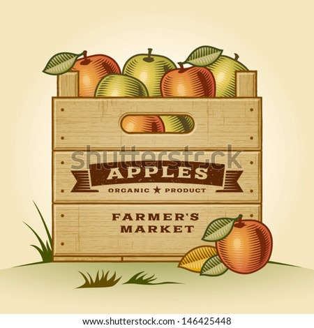 Retro crate of apples. Editable EPS10 vector illustration with clipping mask and transparency. - stock vector