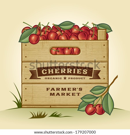 Retro crate of cherries. Editable EPS10 vector illustration with clipping mask and transparency. - stock vector