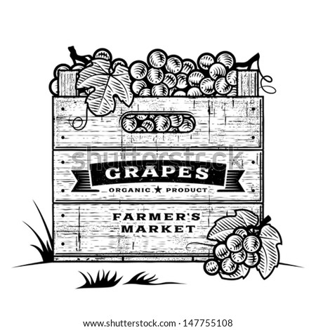 Retro crate of grapes black and white. Editable vector illustration with clipping mask. - stock vector
