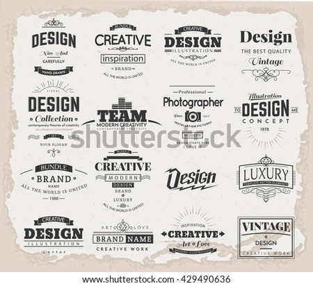 Retro creative vintage labels template logo stock vector 429490636 retro creative vintage labels template and logo set vector design elements business signs branding accmission