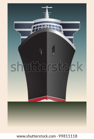 Retro Cruise Ship Vector - stock vector