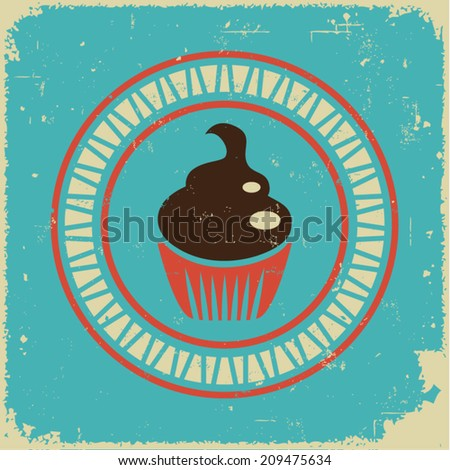 Retro cupcake and bakery label - stock vector