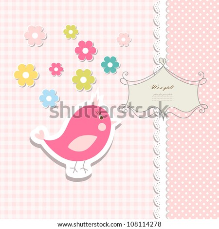 Retro cute art sweet kid pink card baby invitation, greeting, happy birthday, label, postcard, congratulations, children color illustration, design element, old frame, gift, banner text vector eps 8 - stock vector
