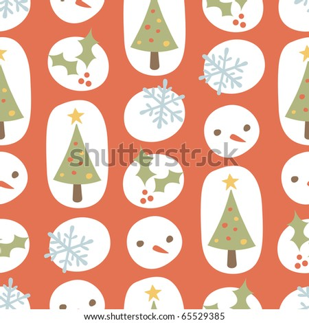 Retro Cute Christmas Seamless Background Pattern - stock vector