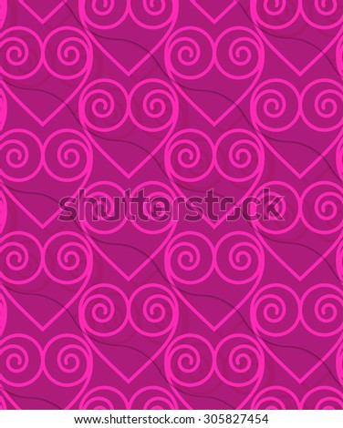 Retro 3D deep pink swirly hearts.Abstract layered pattern. Bright colored background with realistic shadow and thee dimensional effect. - stock vector