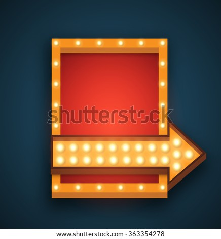 Retro 3D light background.   Vector realistic design element square frame with arrow glowing with light  bulbs.  Clean place for your text, Advertising, Promotions. - stock vector