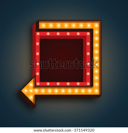 Retro 3D light background. Vector realistic design element square frame with arrow glowing with light bulbs. Vector template for your text, Advertising, Promotions. - stock vector