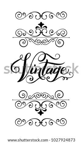 Retro Decorations Elements Hand Lettering Vintage