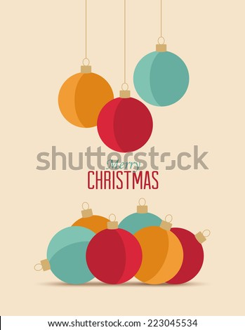 Retro decorative Christmas balls, vector Christmas card - stock vector