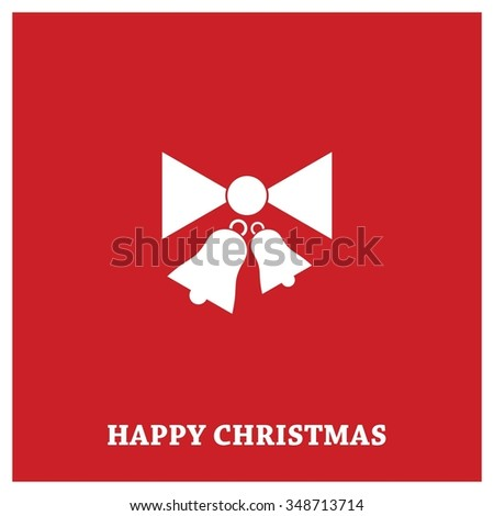 Retro decorative Christmas bells, Christmas New Year Flat card illustration - stock vector