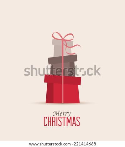 Retro decorative Christmas presents, vector Christmas card - stock vector