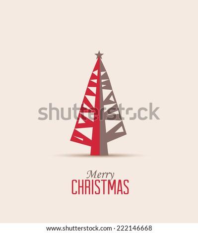 Retro decorative Christmas tree, vector Christmas card - stock vector