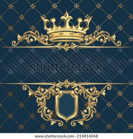 Retro decorative crown & shield - stock vector