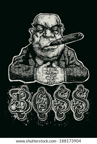 """Retro design """"Boss"""" for poster or t-shirt print with Boss and vintage fonts. vector illustration. grunge effect in separate layer. - stock vector"""