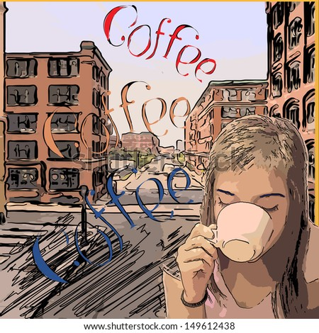 retro design coffee poster with girl drinking from white cup against vintage town main street - stock vector