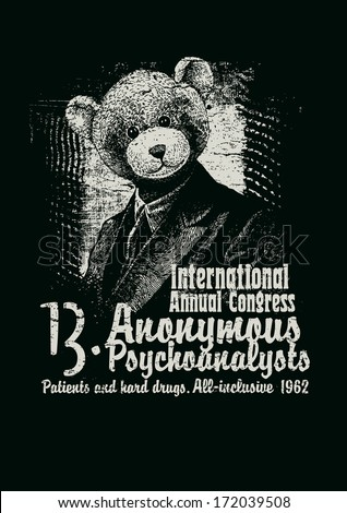 Retro design Congress Anonymous Psychoanalysts for poster or t-shirt print with man in a bear mask and textures. vector illustration. grunge effect in separate layer. black and white version. - stock vector