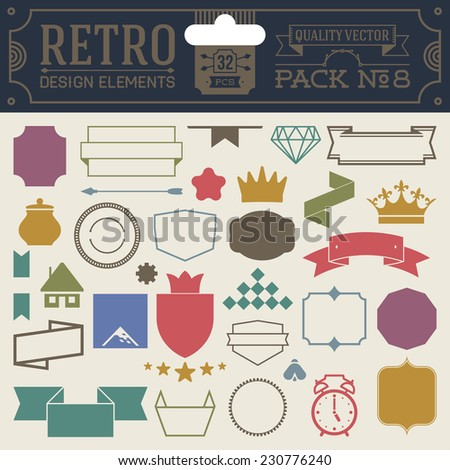 Retro design elements hipster style infographic color set 8. Labels, ribbons, icons, frames, borders etc. High quality vector illustration. - stock vector