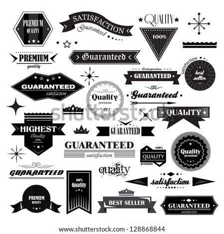 Retro Design Elements. Labels In Retro Style Isolated On White Background. Vector Illustration, Graphic Design Editable For Design. Logo Elements  - stock vector