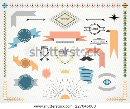 retro design elements with ribbons, labels, arrows and wreaths. vector set. eps 8 - stock vector