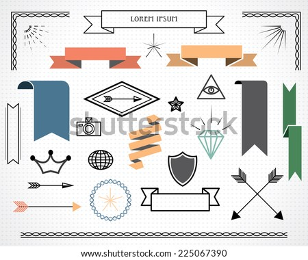 retro design elements with ribbons, labels, arrows. vector set. eps 10 - stock vector