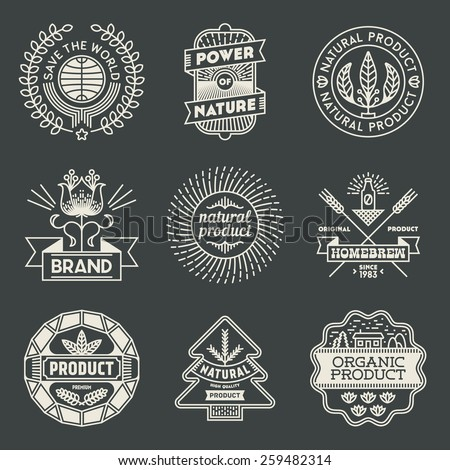 Retro design insignias logotypes natural product set. Vector vintage elements. - stock vector