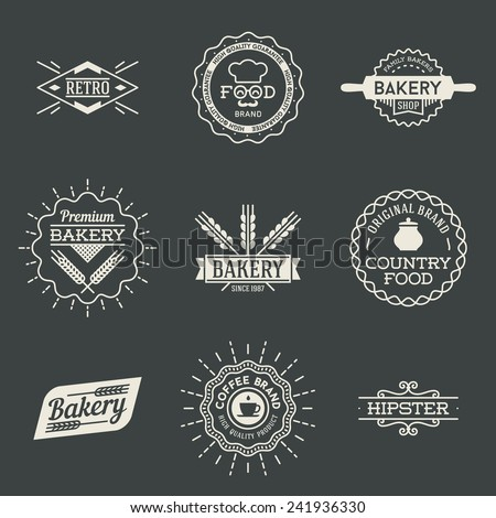 Retro design insignias logotypes set 2. Vector vintage elements. - stock vector