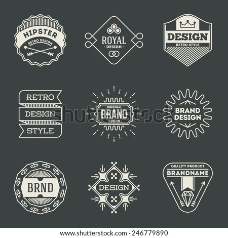 Retro design insignias logotypes set 9. Vector vintage elements. - stock vector