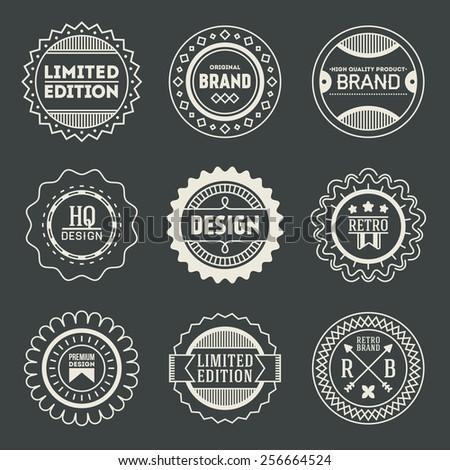 Retro design insignias logotypes set 17. Vector vintage elements. - stock vector