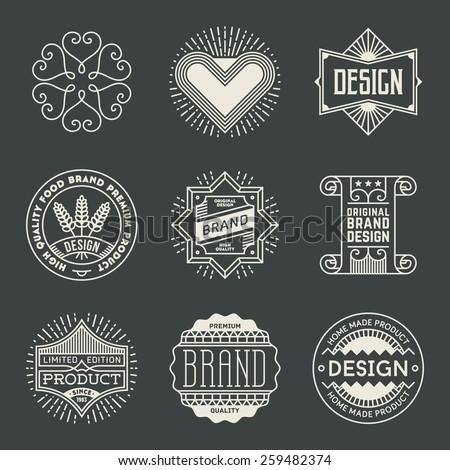 Retro design insignias logotypes set 18. Vector vintage elements. - stock vector
