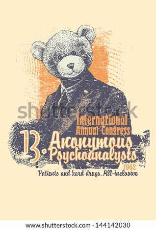 Retro design International Annual Congress Anonymous Psychoanalysts for  poster or t-shirt print with man in a bear mask and textures. vector illustration. grunge effect in separate layer. - stock vector