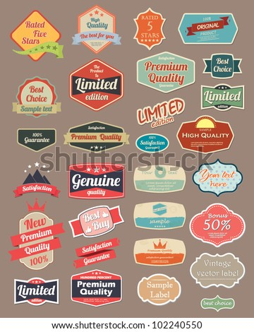 Retro design label set 4 - stock vector