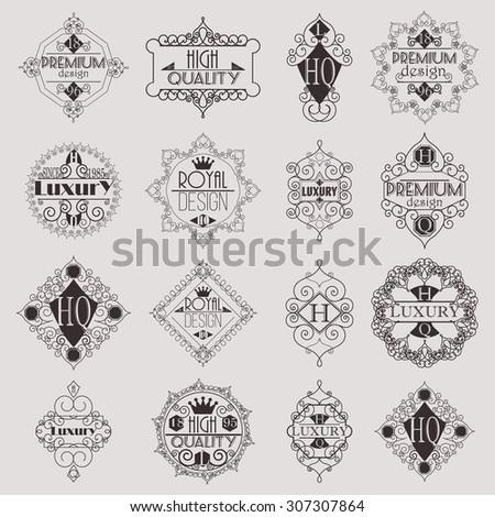 Retro Design Luxury Insignias Logotypes Template Set. Line Art Vector Vintage Style Victorian Swash Elements. Elegant Geometric Shiny Floral Frames. - stock vector