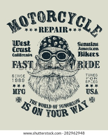 """Retro design """"Motorcycle repair Fast Ride"""" for poster or t-shirt print with bearded biker in motorcycle sunglasses, bandana, and vintage fonts. vector illustration. grunge effect in separate layer. - stock vector"""