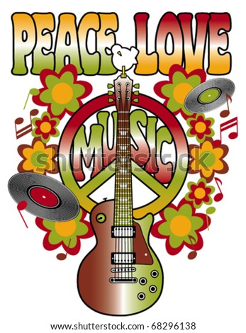 Retro design of a guitar, peace symbol and dove with the words Peace, Love and Music. Type style is my own creation. Elements on layers for easy editing. - stock vector