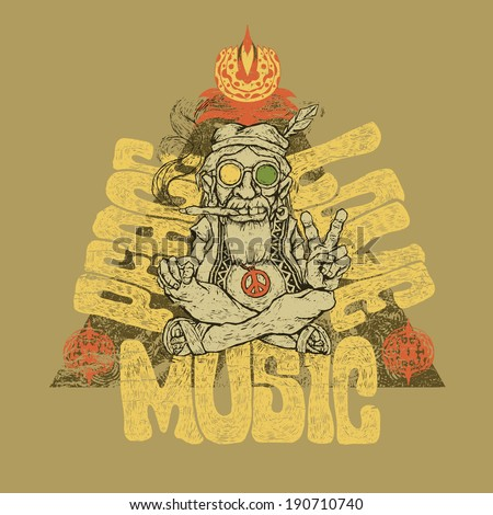 Retro design of Peace, Love and Music  for poster or t-shirt print with old hippie smokes marijuana and shows the peace symbol and hand-written fonts. vector illustration.  - stock vector
