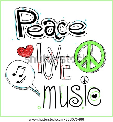 Retro design of Peace, Love and Music with hand-written fonts. - stock vector