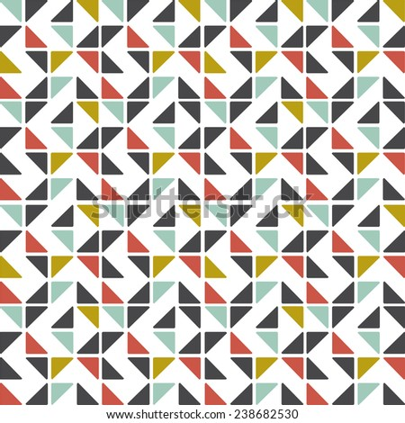 Retro design pattern with mosaic colorful triangles on white background. Bright illustration, can be used as background on card. Graphic design editable for design. - stock vector