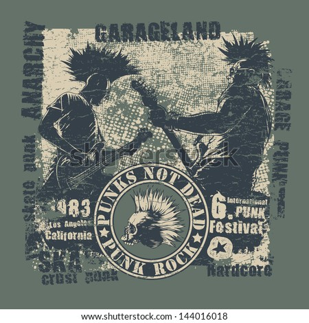 """Retro design """"Punk Not Dead"""" for t-shirt print, with two punk musicians, emblem, vintage fonts and textures. vector illustration. grunge effect in separate layer. - stock vector"""