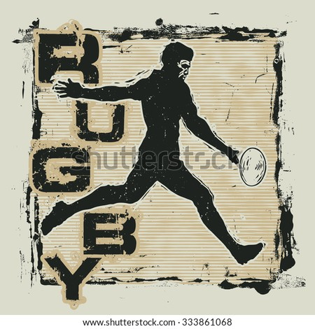 Retro design Rugby for t-shirt print with rugby player and grunge fonts . vector illustration - stock vector