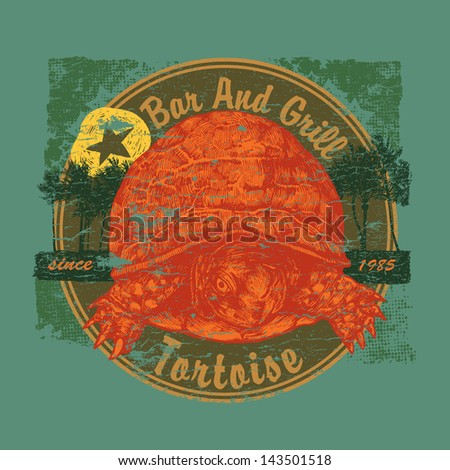 "Retro design ""Tortoise"" Bar and Grill for beach bar sign board or t-shirt print, with tortoise, palms, vintage fonts and  textures. vector illustration. grunge effect in separate layer. - stock vector"