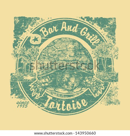 "Retro design ""Tortoise"" Bar and Grill for beach bar sign board or t-shirt print, with tortoise, palms and vintage fonts. two colors version. vector illustration. grunge effect in separate layer. - stock vector"
