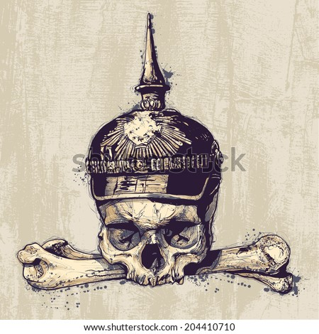 Retro design with skull in war helmet, crossbones and grunge background. vector illustration. grunge effect in separate layer.  - stock vector