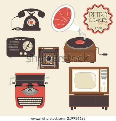 Retro devices collection of tv, radio, gamepad, audio cassette, mobile phone, typewriter and pc - stock vector