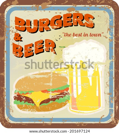 retro diner sign, burgers and beer, vector, free copy space - stock vector