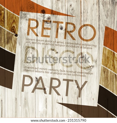 Retro disco flyer template - stock vector