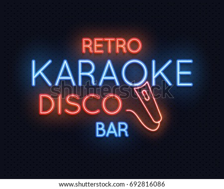 Retro disco karaoke bar neon light vectores en stock 692816086 retro disco karaoke bar neon light sign vector illustration neon light lamp glowing karaoke aloadofball Image collections