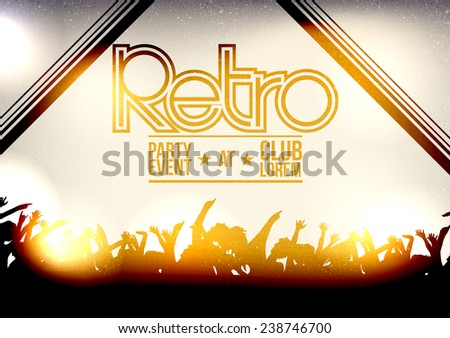 Retro Disco Party Poster Background Design with People - Vector Illustration - stock vector